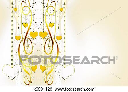Ornamentale Dorato Cuori E Stelle Su Uno Sfondo Bianco