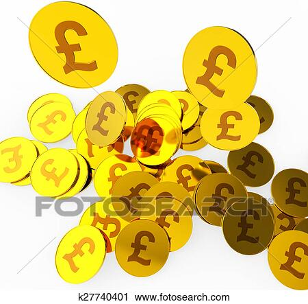 Clipart Of Pound Coins Means British Pounds And Finance K27740401