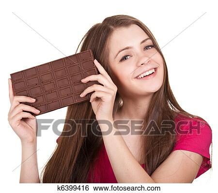 Stock Images Of Shot Of A Beautiful Teen Girl Holding Big Chocolate
