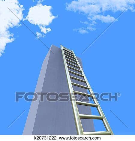 Sky Ladders Indicates Step Upwards And Raise Drawing