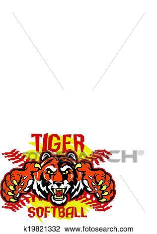Tiger ソフトボール クリップアート切り張りイラスト絵画集