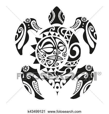 5629ca8c1 Clipart - Turtle tattoo in Maori style. Vector illustration EPS10.  Fotosearch