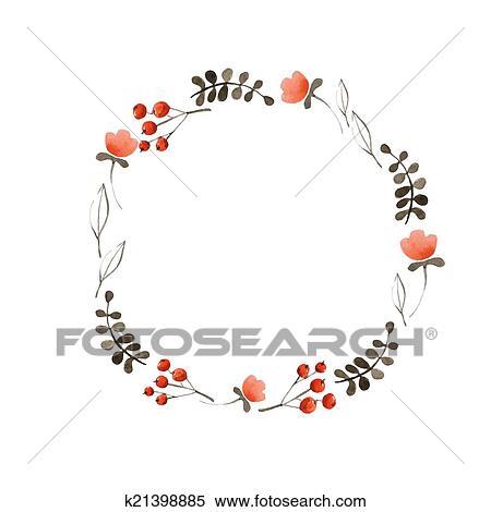 Clipart - acuarela, flor, marco k21398885 - Buscar Clip Art ...