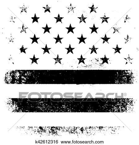 American Flag Background Grunge Aged Vector Illustration Black