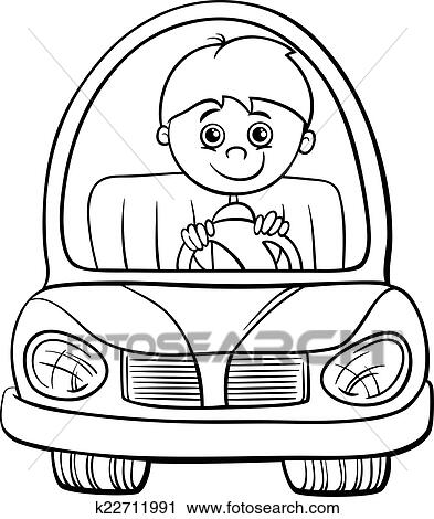 Black And White Cartoon Illustration Of Cute Boy In Toy Electric Car For Coloring Book