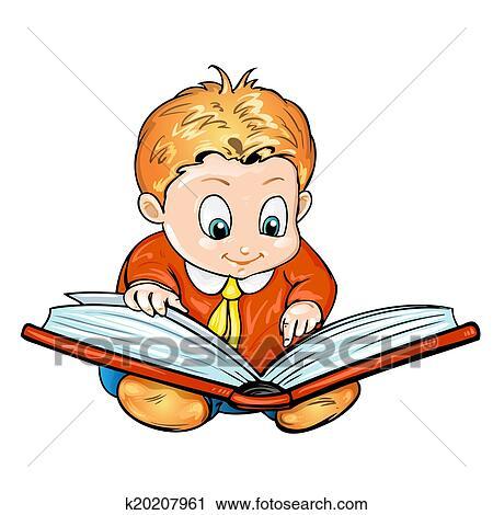 Dessin Anime Enfants Lecture Livre Clipart