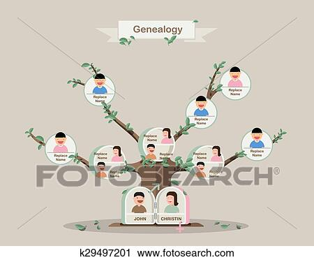 clipart of genealogical tree family tree in flatdesign pedigree