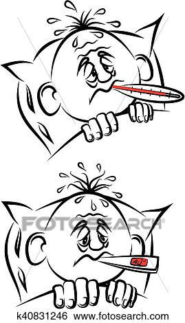 Clip Art Of Ill Man With Thermometer K40831246