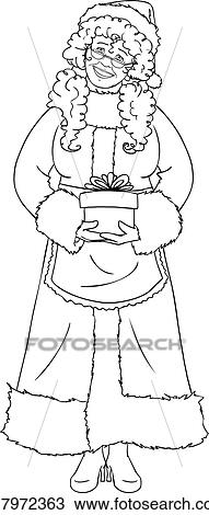 Mrs Santa Claus Holding A Present For Christmas Coloring Page Clipart