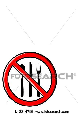 clip art of no eating no food allowed k18814796 search clipart rh fotosearch com no food allowed clipart no food clipart black and white
