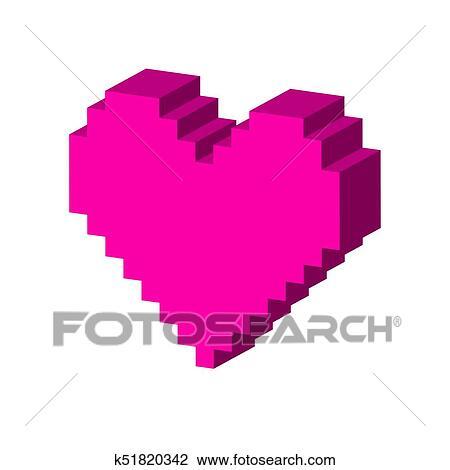 Pixel Coeur Symbole Plat Isométrique Icône Ou Logo 3d Style Pictogramme Pour Conception Toile Ui Mobile App Infographic Dessin
