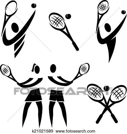 Clip Art Of Tennis Icons K21021589