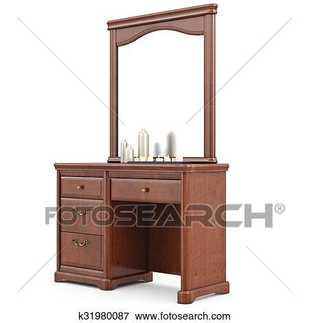 Tocador de madera con espejo colecci n de ilustraciones for Tocador de madera maciza