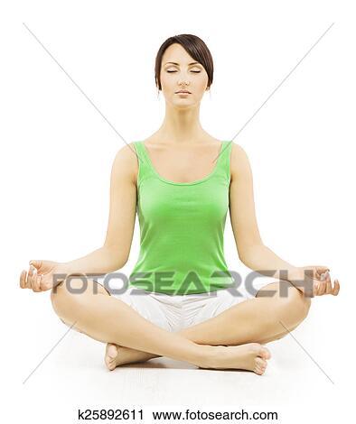 yoga woman in meditation sitting in lotus pose female