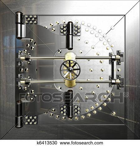 Banque d\'illustrations - chambre forte banque, porte k6413530 ...