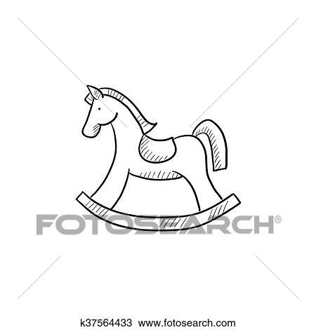 Clipart - cheval bascule, croquis, icon.