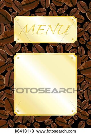 Clip art of coffee shop menu template k6413178 search clipart a template for a coffee shop menu space for your own text fully editible eps10 vector format maxwellsz