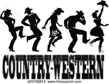 Clipart - Country-western, ballo, silhouette, ba k25706814 ...