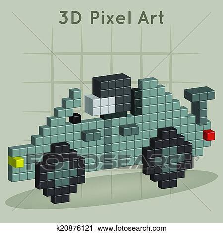 Course Voiture 3d Pixel Art Clipart