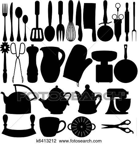 Clip Art - cucina, oggetti k6413212 - Cerca Clipart, Poster ...