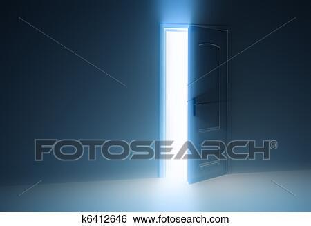 Stock Illustration   Door Half Open. Fotosearch   Search Clip Art,  Drawings, Fine