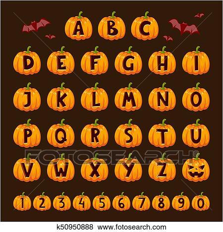 Halloween pumpkin font alphabet text symbols vector illustration  Clip Art