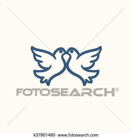 Clipart Hochzeitstauben Skizze Icon K37801480 Suche Clip Art