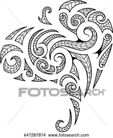 5aa0f9548 Maori style tribal art tattoo Clipart   k47287874   Fotosearch