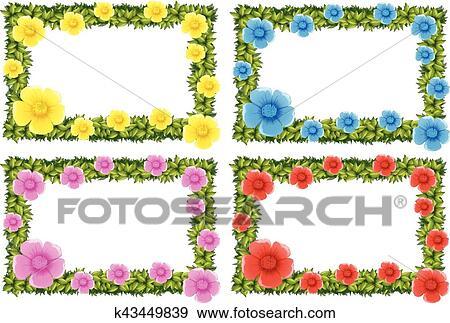 Quatro Quadro Desenho Com Flores Coloridas Clipart K43449839