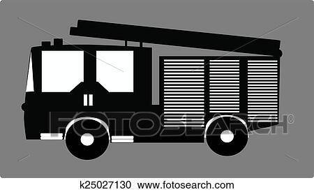 Klipart Siyah Itfaiye Arabası K25027130 Clipart Duvar