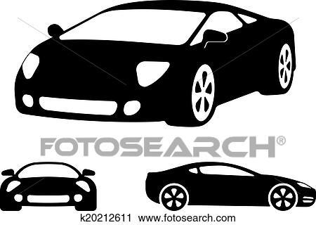 ベクトル 贅沢な車 シルエット クリップアート切り張りイラスト