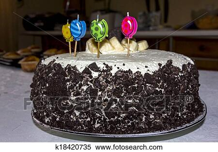 Birthday Cake With Four Candles Decorated Banana Slices And