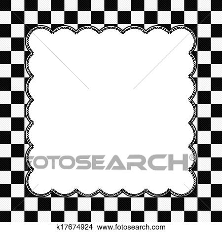 Stock Photo Of Black And White Checkered Frame With Embroidery