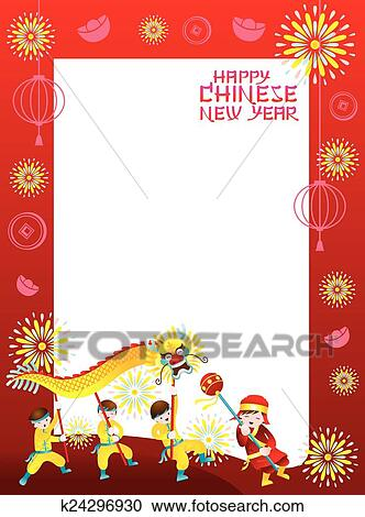clipart chinese new year frame with dragon fotosearch search clip art illustration