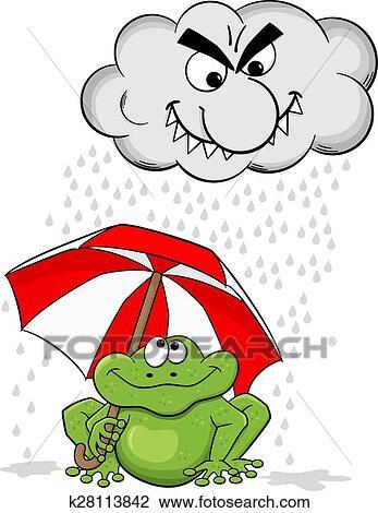 Clipart Dessin Anime Grenouille A Parapluie Et Nuage Pluie