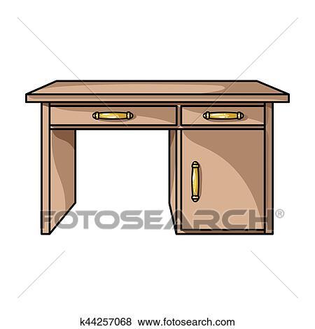 Colección de ilustraciones - escritorio de oficina, icono, en ...