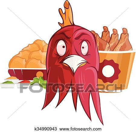 Clipart Of Fried Chicken Fast Food Vector Illustration K34990943