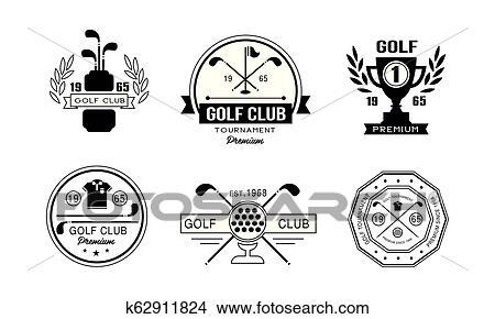 Golf Club Premium Logo Design Set Golfing Club Retro Badges Sport Tournament Or Competition Vintage Labels Vector Illustration On A White Background Clipart K62911824 Fotosearch