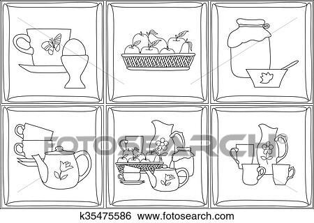 Archivio Illustrazioni - illustrazione matita, di, cucina, articoli ...