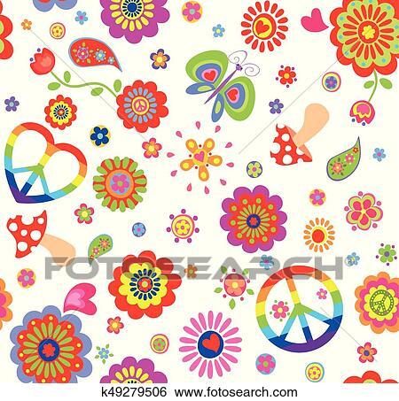 Infantil Papel Parede Com Coloridos Hippie Simbolo Paz