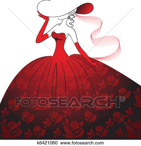 Red Evening Dresses Clip Art