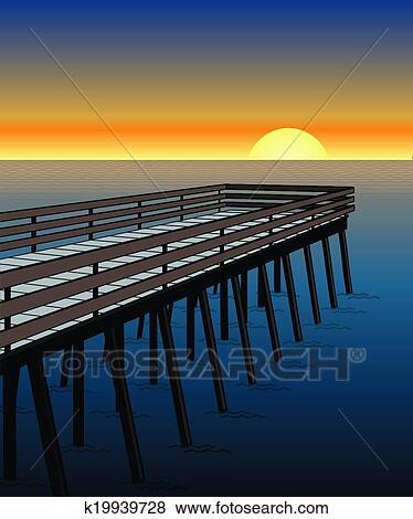Pier at Sunset Clip Art