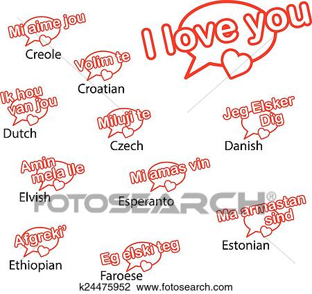 Clipart Word I Love You In Different Languages Love Concept Fotosearch Search