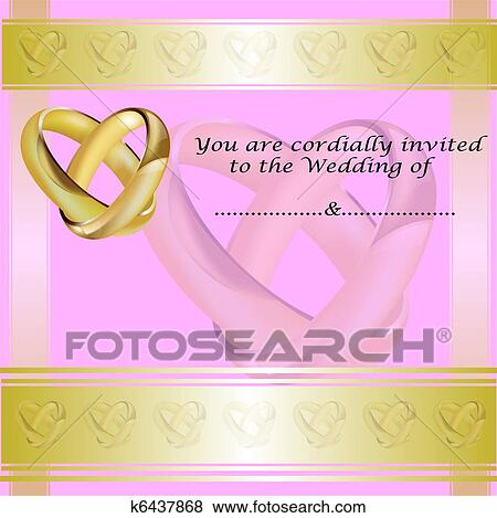 Clip Art A Hochzeitskarten Karte Mit Gold Ringe K6437868