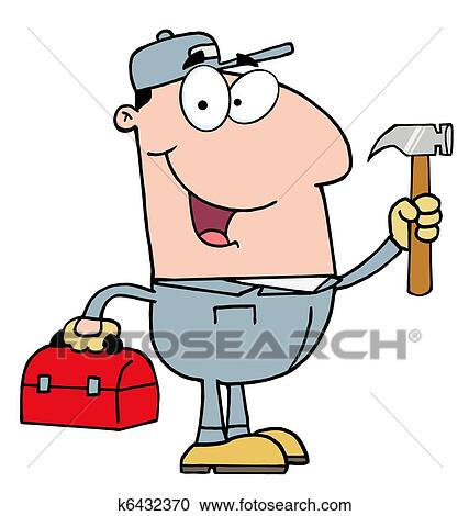 clipart of construction worker with hammer k6432370 search clip rh fotosearch com construction worker clipart free construction worker clipart black and white
