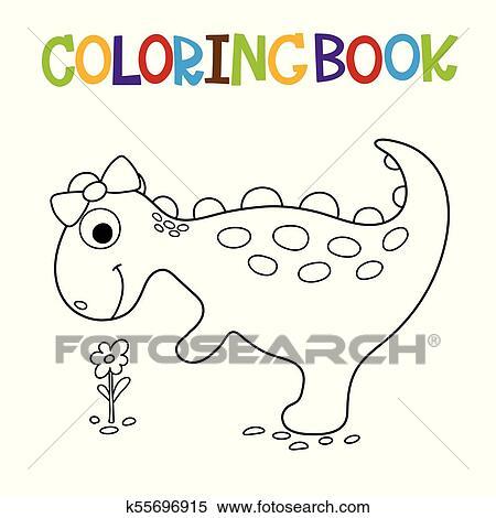Cute dino coloring book Clipart | k55696915 | Fotosearch
