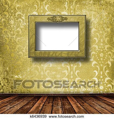 86ed4103 Arkivfotografi - gammel, grunge, rom, med, av tre, bilde rammer inn, inn,  viktoriansk stil