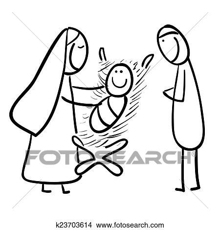 Drawings Of Hand Line Drawing Cartoon Of A Jesu K23703614