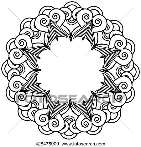 Clip Art Of Indian Henna Tattoo Inspired Icon K28475909 Search