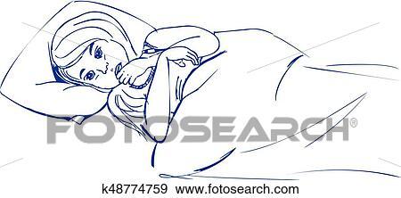 Clip Art Krankes Madchen Bett Hand Gezeichnet Skizze